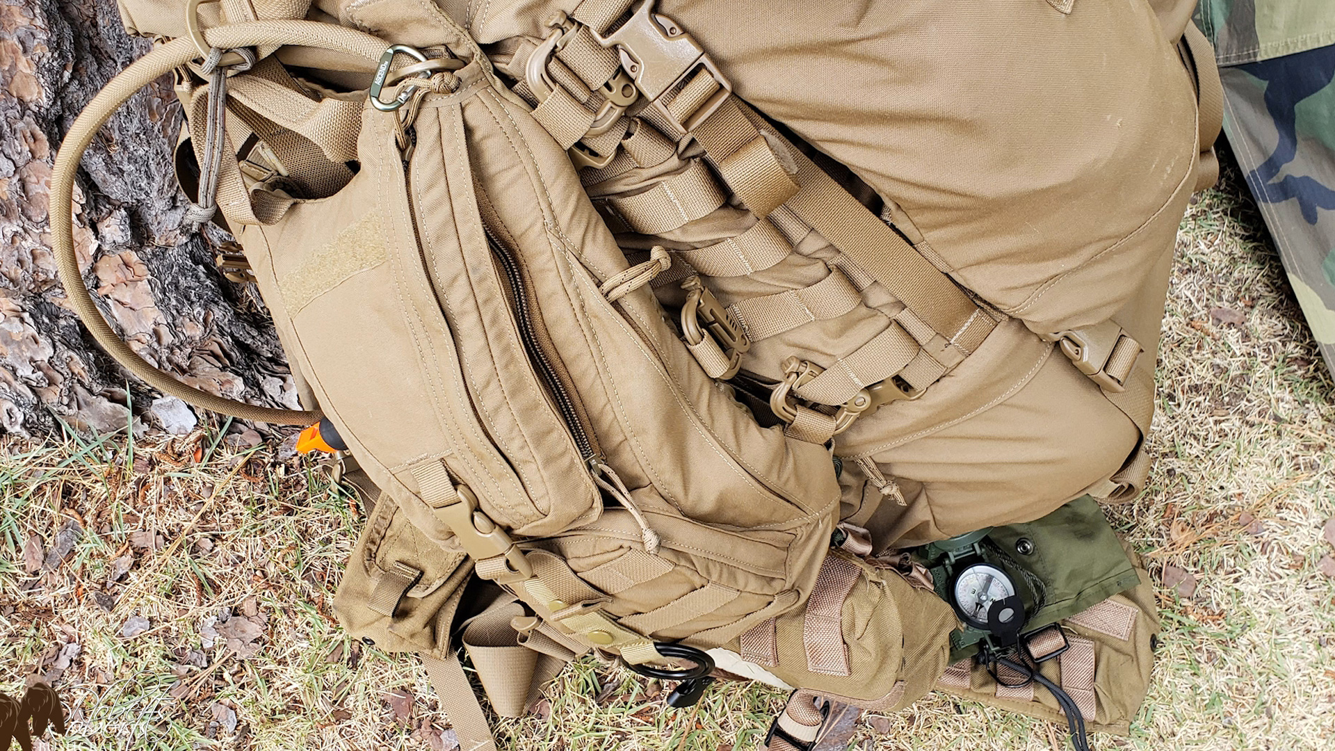 USMC FILBE Hydration Carrier attached to the FILBE main pack