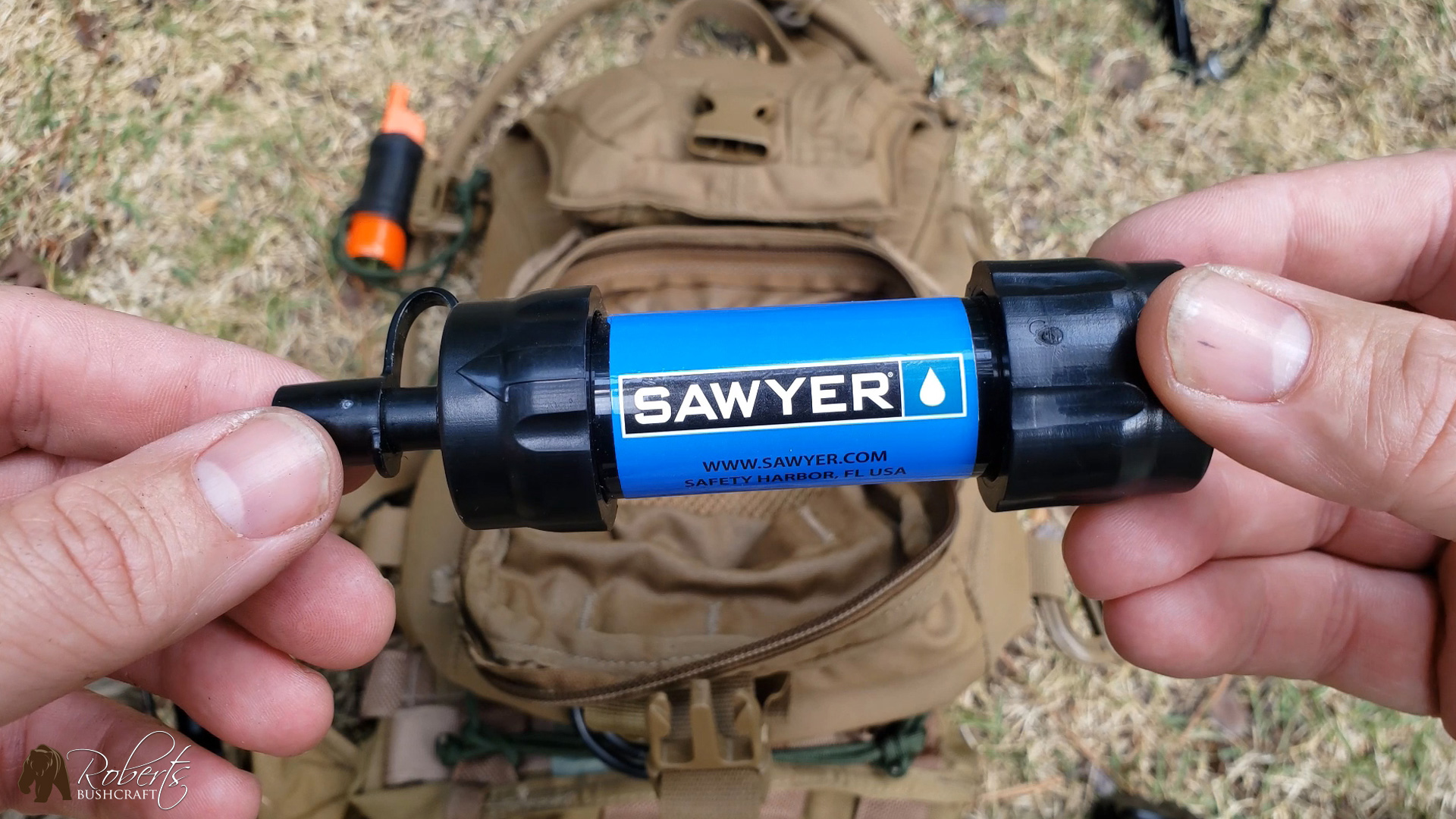 Sawyer Mini water filter is kept inside of my USMC FILBE Hydration Carrier