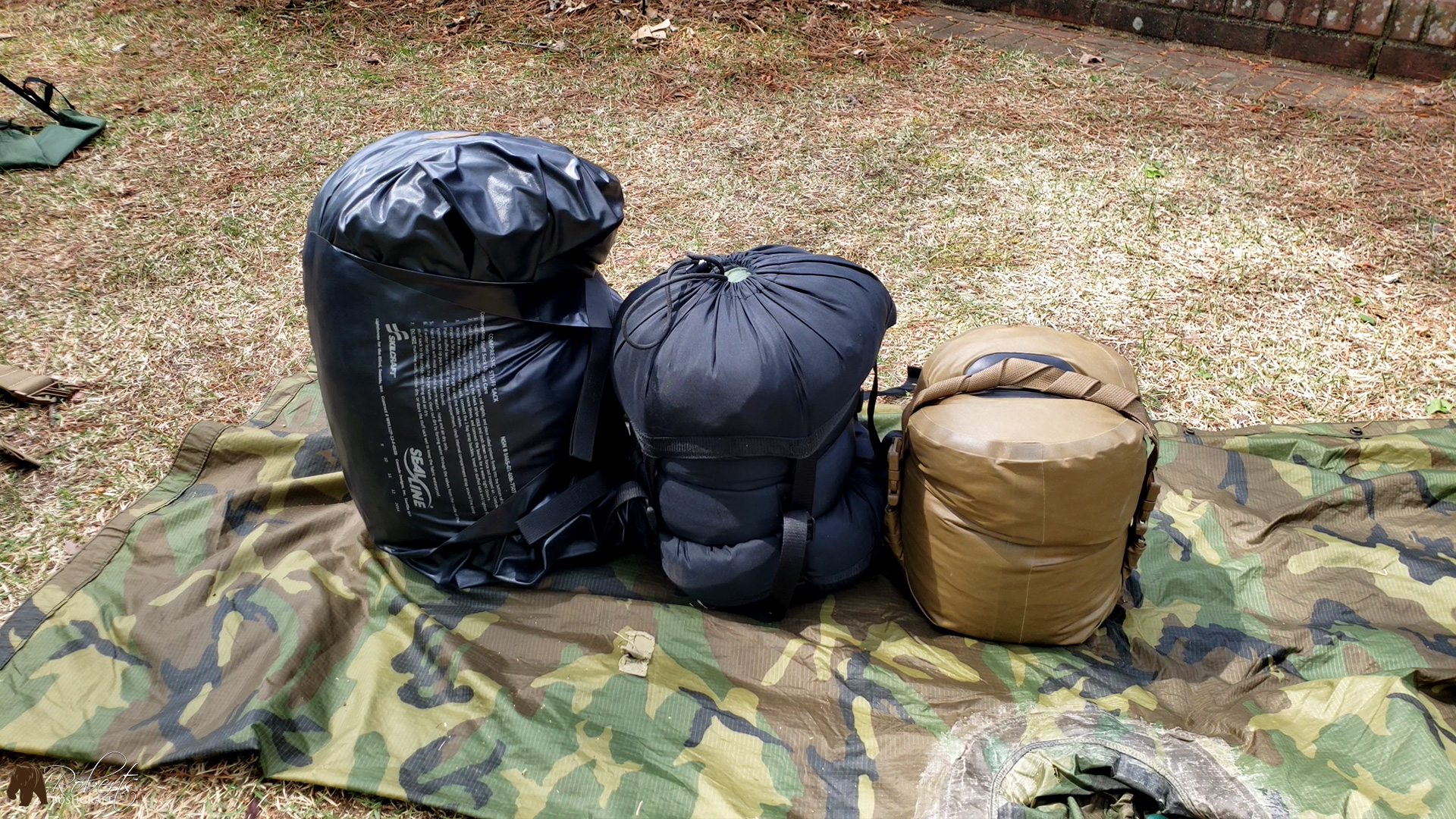 military sleeping bags inside compression bags